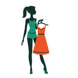An illustration of a pretty girl getting dressed Royalty Free Stock Photos
