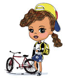 Pretty girl and bike Royalty Free Stock Photo