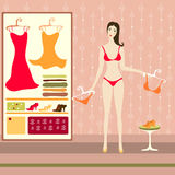 Illustration of pretty girl in wardrobe Stock Photography