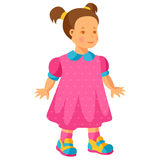 Illustration of pretty little girl in pink dress Royalty Free Stock Photo