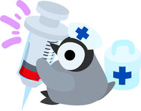 The illustration of pretty penguin baby. The pretty baby penguin which did a figure of a doctor Royalty Free Stock Photo