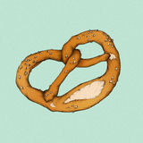 Illustration of a pretzel. Illustation of a baked pretzel with salt Stock Image