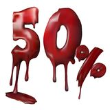 Illustration price 50 discount, melts. 3d vector shiny red discount 50 percent off. Price 50 discount is melting. Vector illustration for promotion discount Royalty Free Stock Image