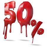 Illustration price 50 discount, melts. Vector illustration for promotion discount sale advertising. 3d vector shiny red discount 50 percent off. Price 50 Stock Photos