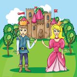 Illustration of Prince and Princess Stock Photos