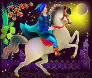 Illustration of prince riding on a horse in wonderland. Vector cartoon image. Scale to any size without loss of resolution Royalty Free Stock Photos