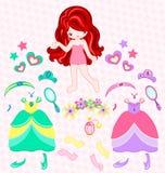 Princess dress up. Illustration of princess with beautiful set Stock Image
