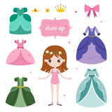 Illustration of princess with beautiful set. Princess dress up game. Royalty Free Stock Photo