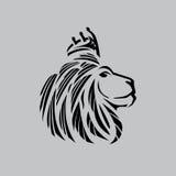 Illustration principale de lion avec des contours d'une couronne juste illustration stock