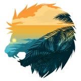Illustration principale de silhouette de lion d'hurlement illustration de vecteur