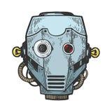 Illustration principale de vecteur de gravure de robot de cyborg illustration stock