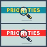 Priorities word with magnifier concept. Illustration of priorities word with magnifier concept Royalty Free Stock Photos