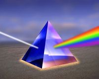 Illustration of a prism with rays of light. Illustration of a prism with rays of colored light emerging Stock Photography