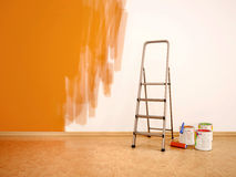 Illustration of Process of repainting the walls in orange col. 3d illustration of Process of repainting the walls in orange col Royalty Free Stock Photo