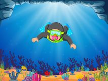 A professional man diver is diving with the blue flippers stock illustration