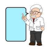 Illustration of a professor or teacher with text box. Stock Photos