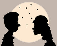 Illustration, profile kissing men and women retro Royalty Free Stock Photography