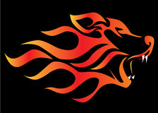 Illustration profile wolf on black. Aflame Royalty Free Stock Images