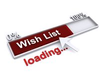 Wish list loading. An illustration of a progress bar with the text 'Wish list loading royalty free illustration
