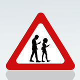 Prohibition for walking with smartphone on the road signal Royalty Free Stock Photos