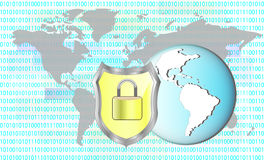 Illustration of protection cyber crime. Lock with  Stock Images