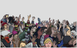 Illustration of protesting crowd with raised hands in color royalty free illustration