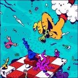 Illustration psychédélique au sujet des échecs Vecteur Main avec échec et mat de gage Image surréaliste sur le sujet de la gestio illustration libre de droits