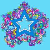 Illustration psychédélique de vecteur d'étoile d'arc-en-ciel Images stock