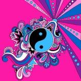 Illustration psychédélique de vecteur de Yin Yang Image libre de droits