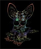 An illustration of a psychodelic cat. Color picture of a cat. An illustration of a psychodelic cat. Color drawing of a cat royalty free illustration