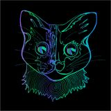 An illustration of a psychodelic cat. Colorful drawing of a cat. An illustration of a psychodelic cat. Neon drawing of a cat Royalty Free Stock Photo