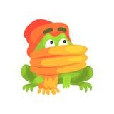 Illustration puérile de port de bande dessinée d'écharpe et de chapeau de caractère drôle de grenouille verte Photo libre de droits