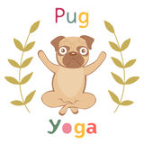 An illustration of pug doing yoga Stock Photo