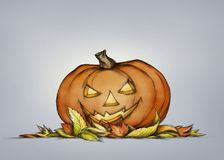 Pumpkin with grim face expression in autumn leaves. Illustration of a Pumpkin with grim face expression in autumn leaves Royalty Free Stock Photography
