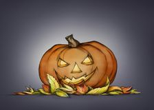 Pumpkin with grim face expression in autumn leaves. Illustration of a Pumpkin with grim face expression in autumn leaves Royalty Free Stock Photo