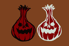 Illustration pumpkin Treats. The dark and glowing. Image stylized pumpkin on Halloween Royalty Free Stock Images