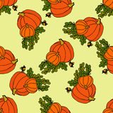 Illustration of pumpkins and acorns. Halloween card. Royalty Free Stock Image