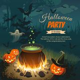 Illustration with pumpkins, bonfire, ghost and bats on night background. Banner - Halloween party. Images for your design projects Stock Photo