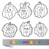 Illustration of pumpkins for coloring book Stock Photo