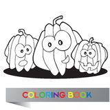 Illustration of pumpkins for coloring book Royalty Free Stock Photos