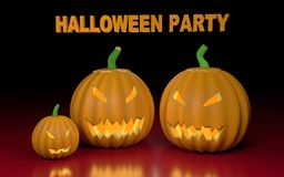 Illustration with pumpkins and text Halloween party. Stock Photos