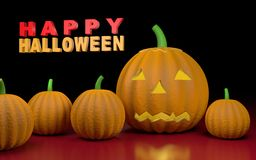Illustration with pumpkins and text Happy halloween Royalty Free Stock Image