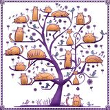 Illustration of a purple tree with cute cats and birds on branches isolated on a white background