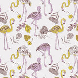 Illustration of purple and yellow flamingos Stock Photos