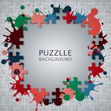 Puzzle pieces with paint stains. Illustration of Puzzle pieces with paint stains Royalty Free Stock Photos
