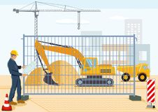 Planning on construction site. Illustration of a quantity surveyor or site manager wearing a yellow hard hat standing next to a safety screen beyond which is a Royalty Free Stock Image