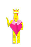 Illustration of queen heart man. Yellow and pink heart woman as queen with a crown Royalty Free Stock Photo