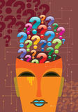 Illustration of a question mark with human head Royalty Free Stock Images
