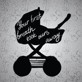 Illustration Quotes on baby stroller, carriage, pram silhouette. Royalty Free Stock Photo
