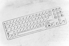 Illustration of qwerty computer keyboard. Computer keyboard (qwerty style) design royalty free stock images